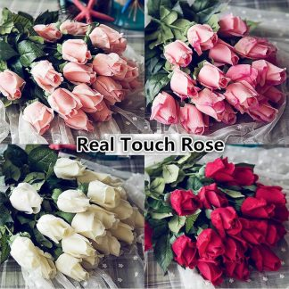 Fresh Real Touch rose-Artificial silk wedding Flowers