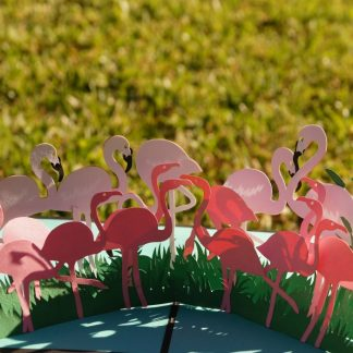 Flamingo-pop up card